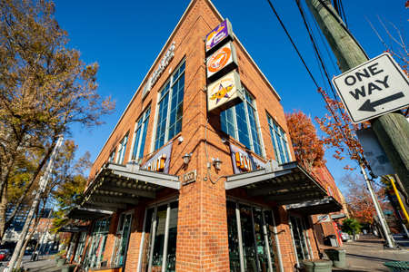 Atlanta, GA, USA - December 12, 2020: Photo of The Flying Biscuit Restaurant historic brick building Downtown Atlanta Editorial
