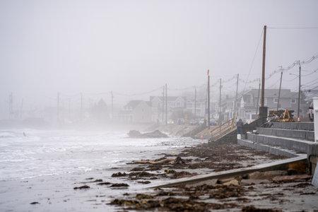 Winter beach scene York Maine