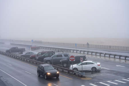 Winter scene in Hampton Beach NH USA