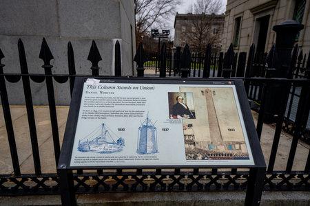 Information kiosk at the Bunker Hill Memorial Boston MA USA
