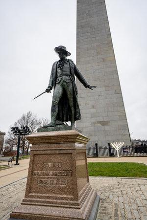 Bunker Hill Monument Boston MA USA and statue of William Prescott Editorial