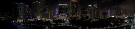 Night aerial panorama Downtown Miami city lights Foto de archivo