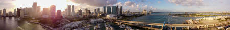Aerial panorama Downtown Miami sunset scene