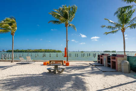 Photo of a barbeque area on a Miami Beach scene with view of the bay