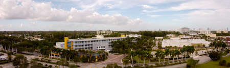 Miami, FL, USA - January 3, 2021: Aerial panoramic photo Johnson Wales University Miami FL Editorial