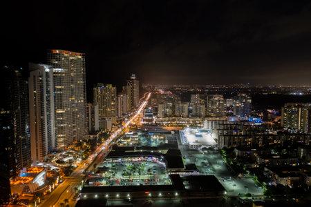 Night aerial photo Sunny Isles Beach FKL city lights