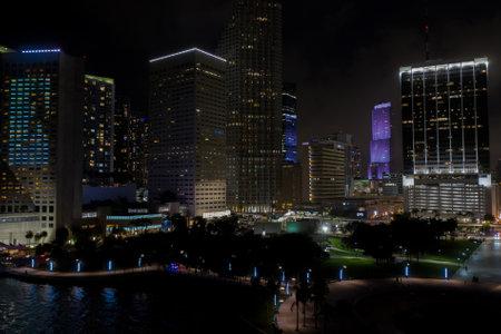 Miami night photo city landscape Editorial