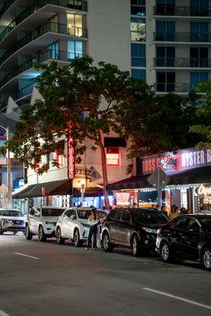 Miami, FL, USA - July 9, 2021: Night scene at Brickell Miami vertical photo