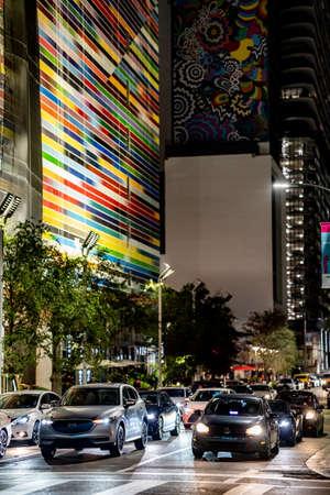 Miami, FL, USA - July 9, 2021: City scene at Brickell Miami night photo