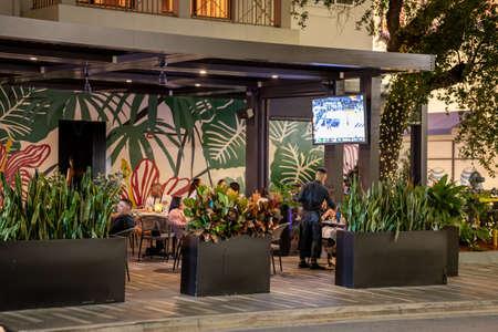 Miami, FL, USA - July 10, 2021: People out at Moxies Mary Brickell Village Brickell Miami Publikacyjne