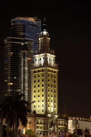 Miami, FL, USA - July 9, 2021: Night image of the Miami Freedom Tower