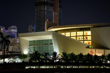 Miami, FL, USA - July 10, 2021: American Airlines Arena Downtown Miami night photo Publikacyjne
