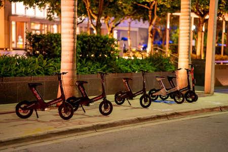 Miami, FL, USA - July 9, 2021: Electric rideshare rental bikes in Brickell Miami FL Publikacyjne