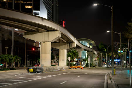 Empty streets of Downtown Miami at night