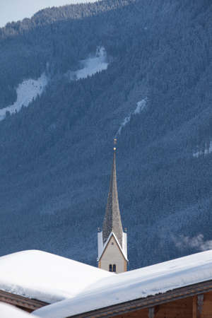 Parish church in Krimml in the Austrian Alps in winter.