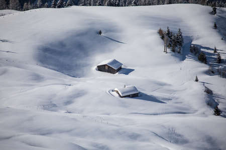 Ski hut in the Austrian mountains in winter. 写真素材