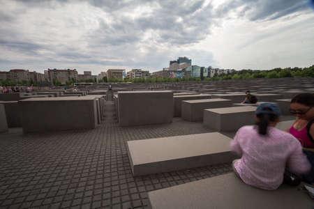 Jewish Holocaust Memorial museum and Berlin city skyline, Berlin, Germany