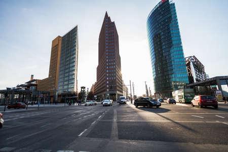 BERLIN, GERMANY - skyline of the financial district with Potsdamer Platz in Berlin, Germany
