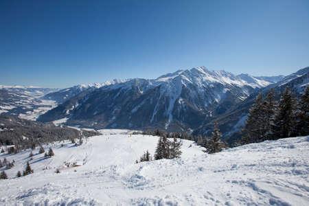 Snowy winter landscape in the Tyrol Alps, Austria