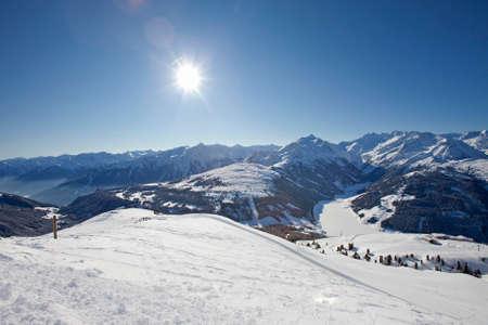 The Alpine skiing resort in Austria Zillertal. Banco de Imagens