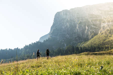 Friends are hiking in summer mountains, Austria Banco de Imagens