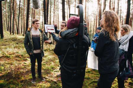 8.9.2017 Nuremberg, Germany: Behind the scene. Film crew team filming movie scene on outdoor location. Group cinema set.