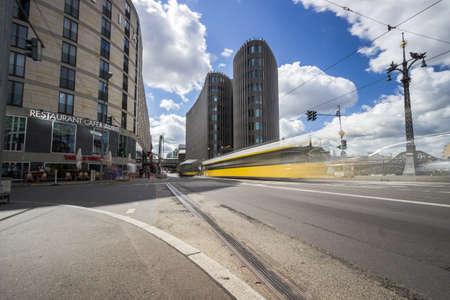 BERLIN, GERMANY - Street view on the Spreedreieck office building in Berlin city