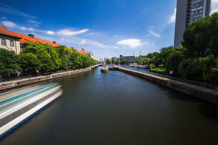 BERLIN, GERMANY - Berlin skyline with Spree river gateway. Berlin is the capital and German largest city by both area and population.