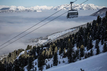 mountains with modern ski lift