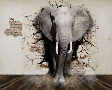 Elephant coming out of the wall. Wallpaper for the walls. 3D Rendering.