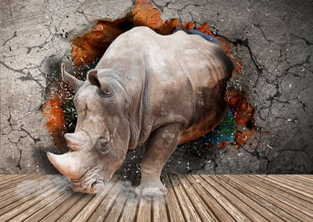 Rhino coming out of the wall. Wallpaper for the walls. 3D Rendering.