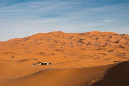 Sand dunes of Erg Chebbi in Sahara on a sunny day Stock Photo