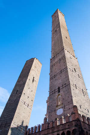 The two leaning towers in Bologna known as Due Torri