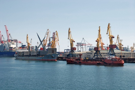 A cargo container ships and cranes is docked at the shipyard.