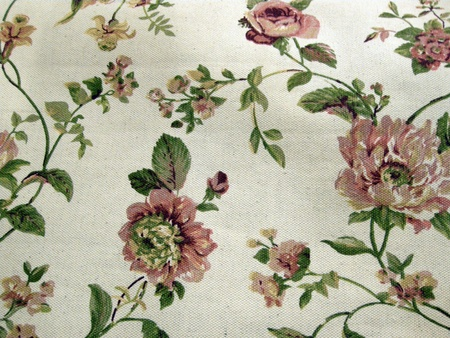 floral linen background with traditional victorian roses pattern