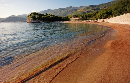 beautiful landscape with Queens beach, villa and mountains, Adriatic sea (Montenegro).Wide-angle photo