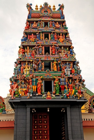 Multicolored hinduism statues on the roof of the Sri Mariamman Hindu temple, Singapore