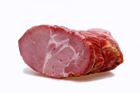 piece of tasty ham on white background Stock Photo - 10409356