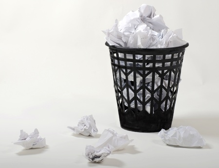 wastepaper: full wastepaper with crumpled papers on white background