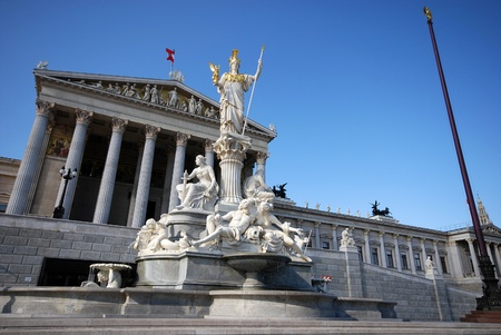 Austrian parlament and monument of Athena Pallada (Vienna, Austria)