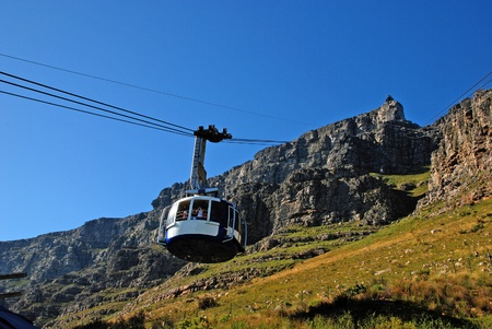 cable car: funicular on Table Mountain(Capetown, South Africa) Editorial