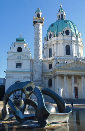 st charles:  St. Charles Cathedral and modern sculpture , Vienna, Austria