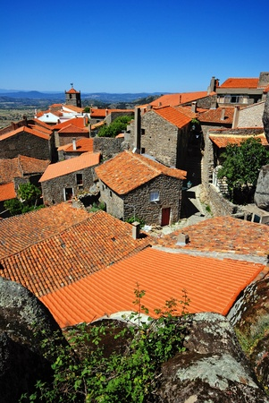 old stone village with red tile roofs (Portugal ) photo