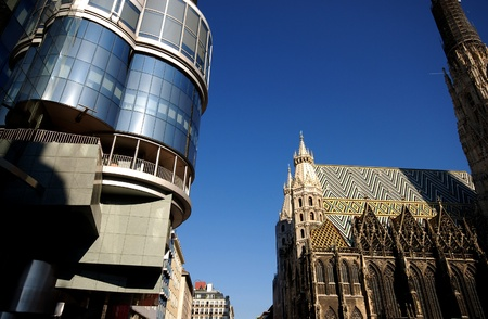 old cathedral and new building in the center of Vienna(Austria) Stock Photo