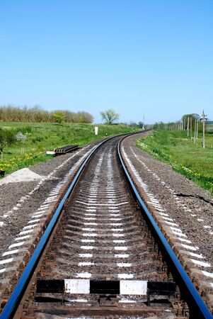 recedes: vertical image of railroad recedes into the distance