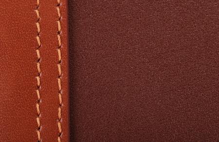2 色の茶色の革のステッチ詳細背景。
