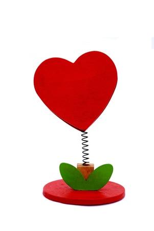 Red heart - holder on white background photo