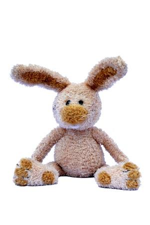 白地にかわいいおもちゃウサギ 写真素材