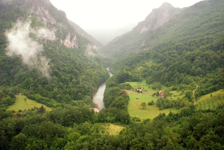 Majestic view with Tara river canyon  in Montenegro mountains photo