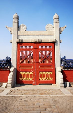 Old red wooden gate in The Temple of Heaven, Beijing, China. photo